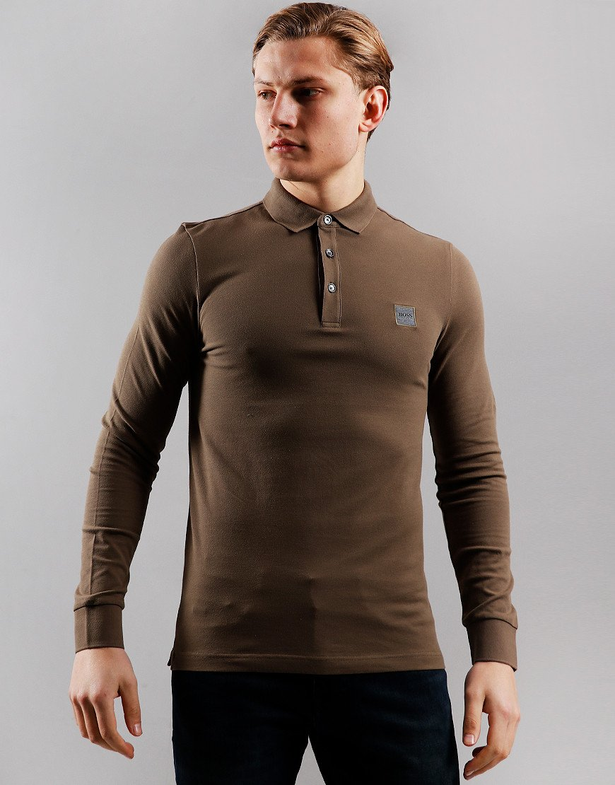 BOSS Passerby Long Sleeve Polo Shirt Dark Grey