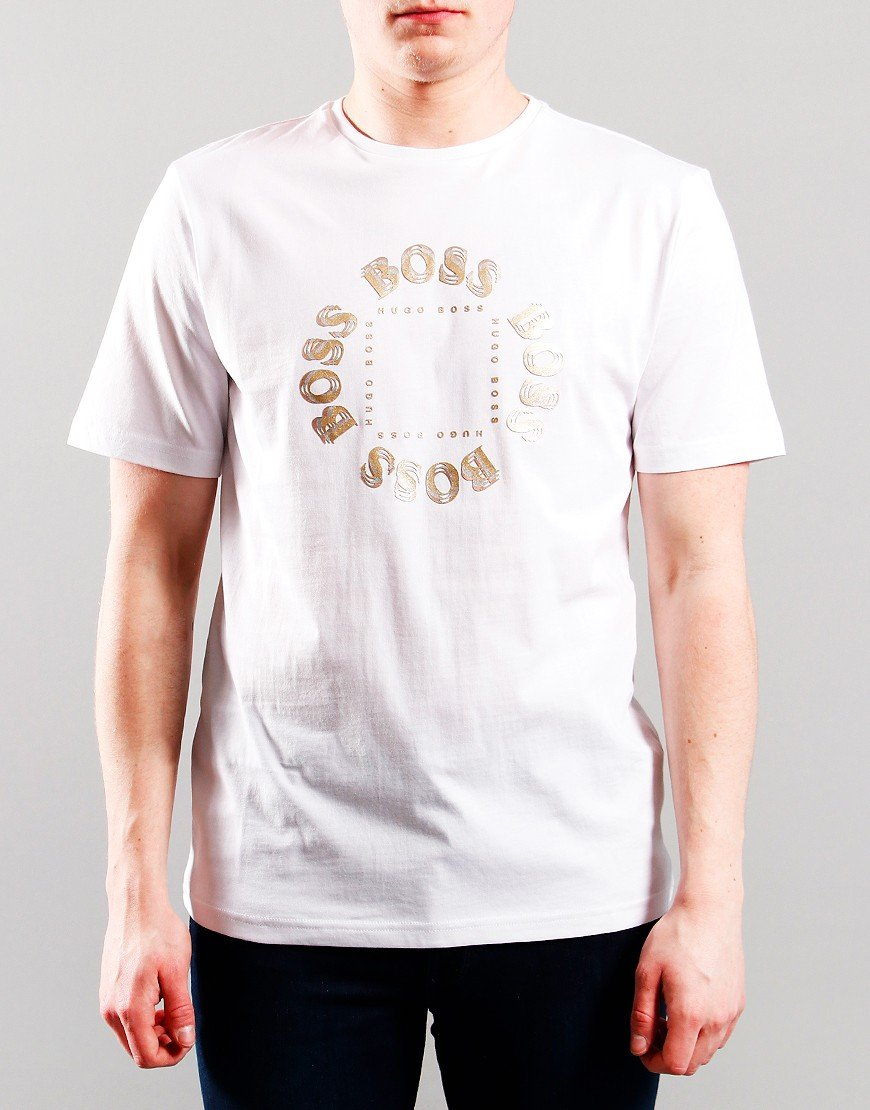 BOSS Kids Gold Logo T-Shirt White