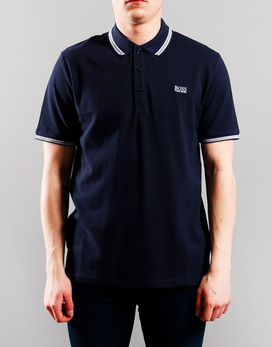 BOSS Kids Cotton Pique Polo Shirt Navy