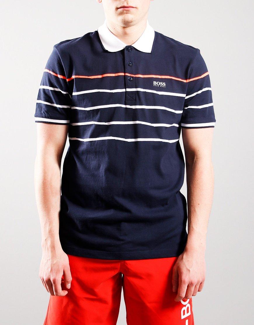 BOSS Kids Stripe Polo Shirt Navy