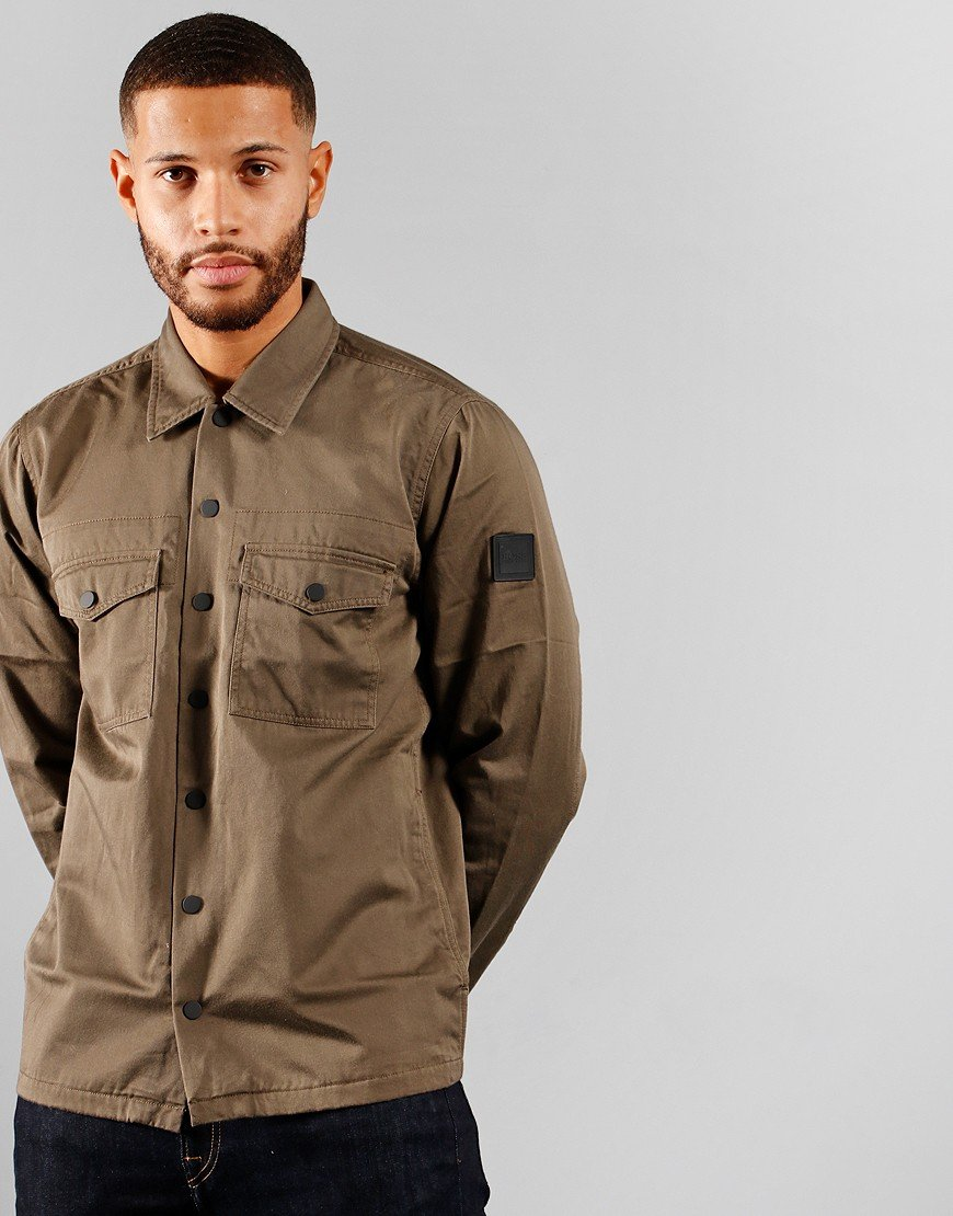 BOSS Casualwear Lovel_4 Open Overshirt Beige/Khaki