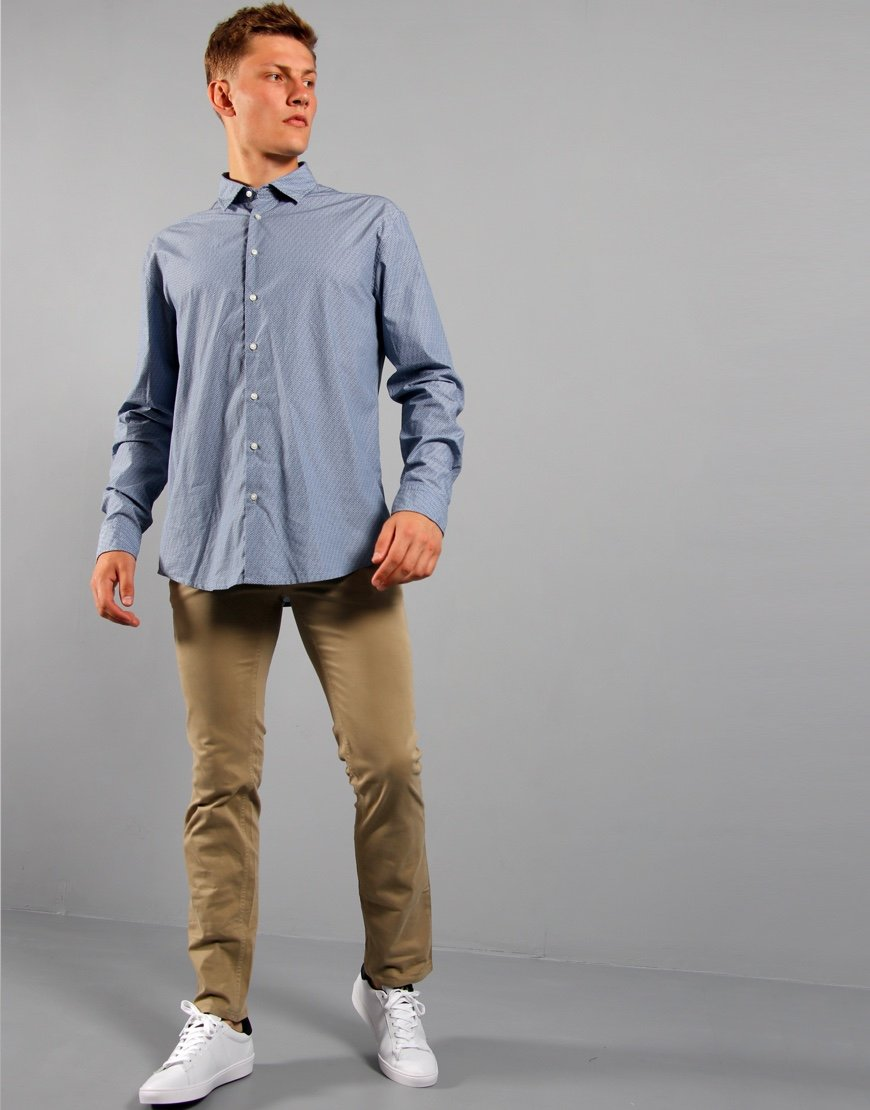 BOSS Mypop 2 Long Sleeve Shirt Open Blue