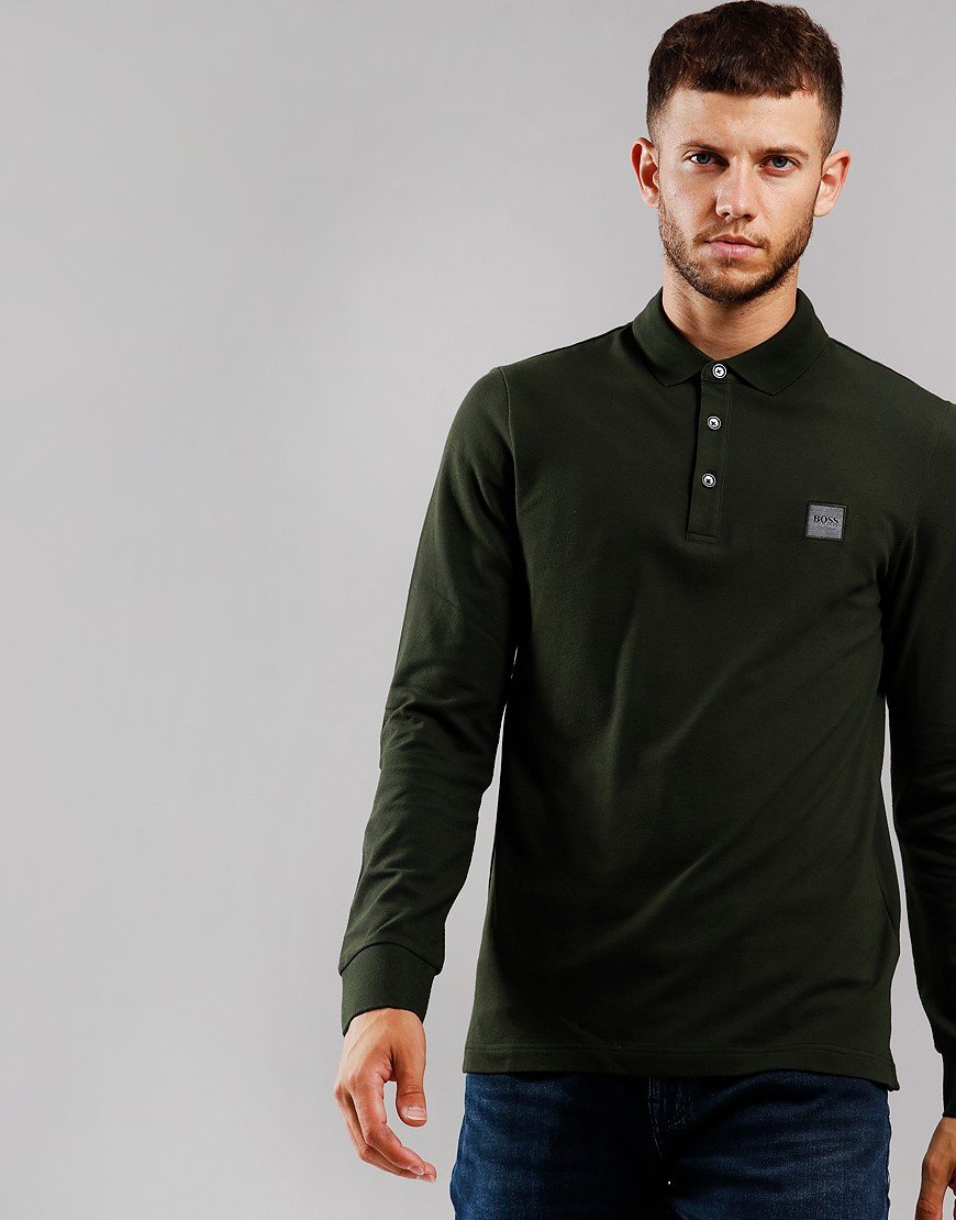 BOSS Passerby Long Sleeve Polo Shirt Open Green