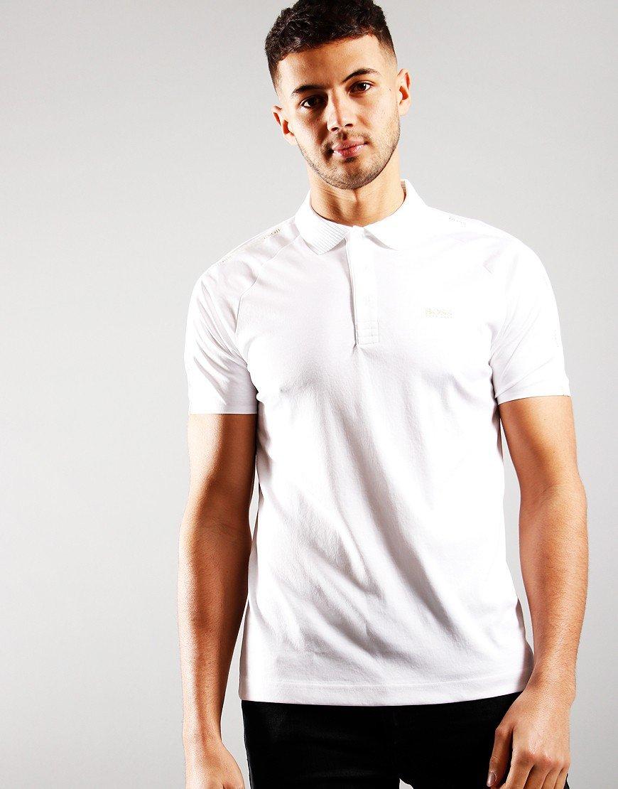 BOSS Paul Gold Polo Shirt White