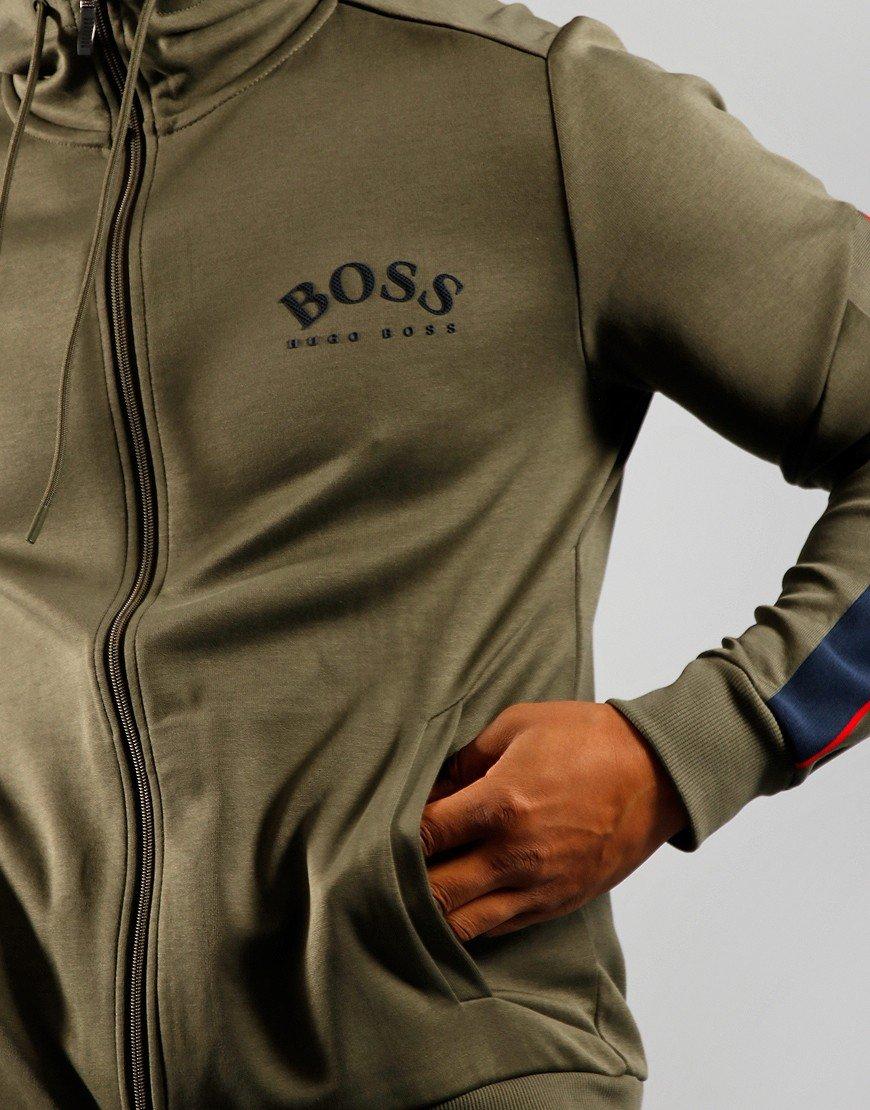 BOSS Athleisure Saggy Hooded Zip Sweat Dark Green