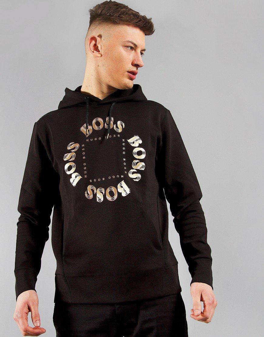 BOSS Sly Hooded Metallic Logo Sweat Charcoal