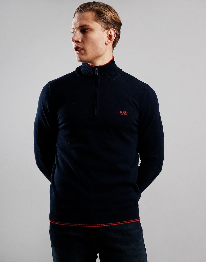 BOSS Zimex Zip Neck Knit Navy