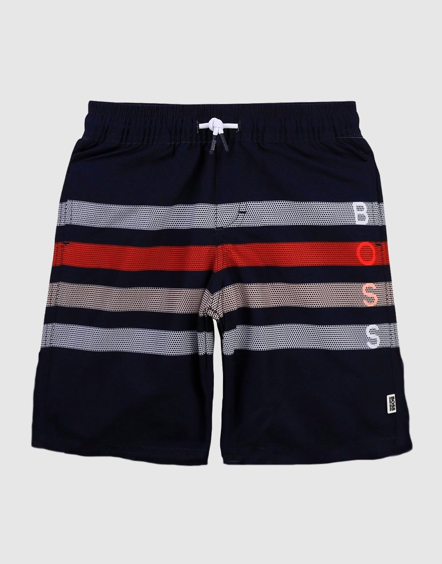 BOSS Kids Striped Swim Shorts Navy