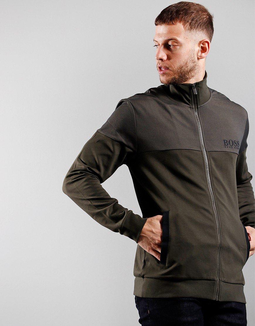 BOSS Bodywear Tracksuit Jacket Open Green