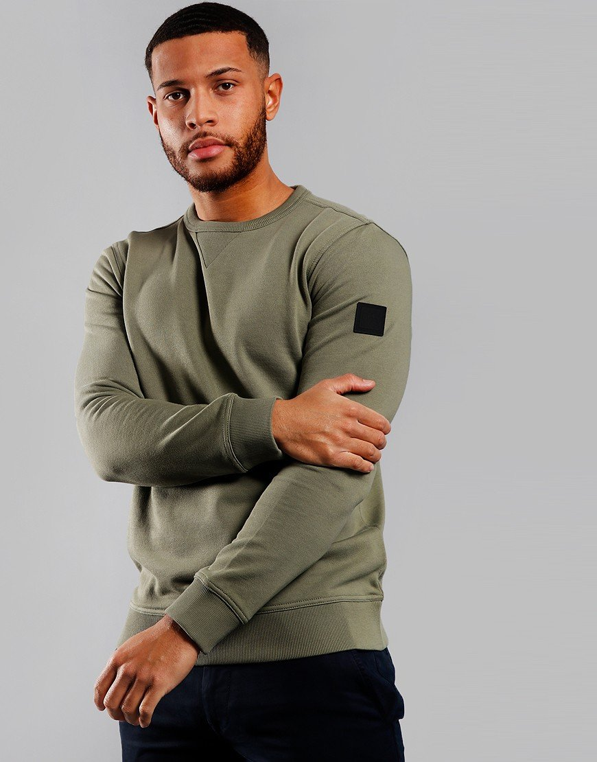 BOSS Walkup 1 Crew Neck Sweat Open Green