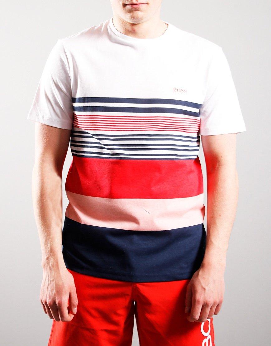 BOSS Kids Wide Stripe T-Shirt White/Red