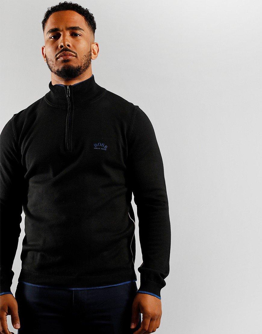 BOSS Athleisure Ziston Half Zip Knitted Jumper Black