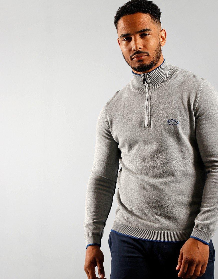 BOSS Athleisure Ziston Half Zip Knitted Jumper Light/Pastel Grey