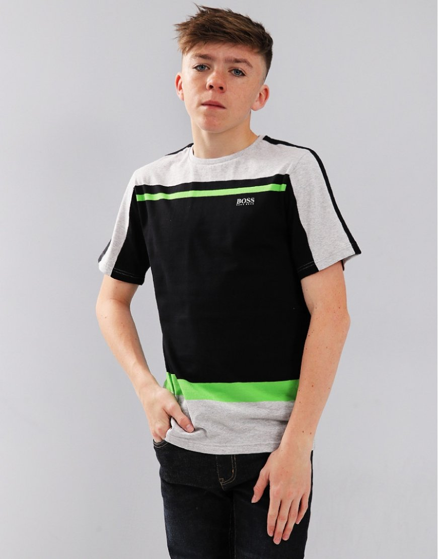 BOSS Kids Stripe Tee Black
