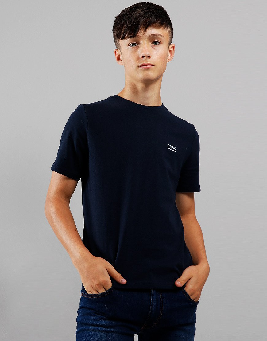 BOSS Kids Small Logo T-Shirt Navy