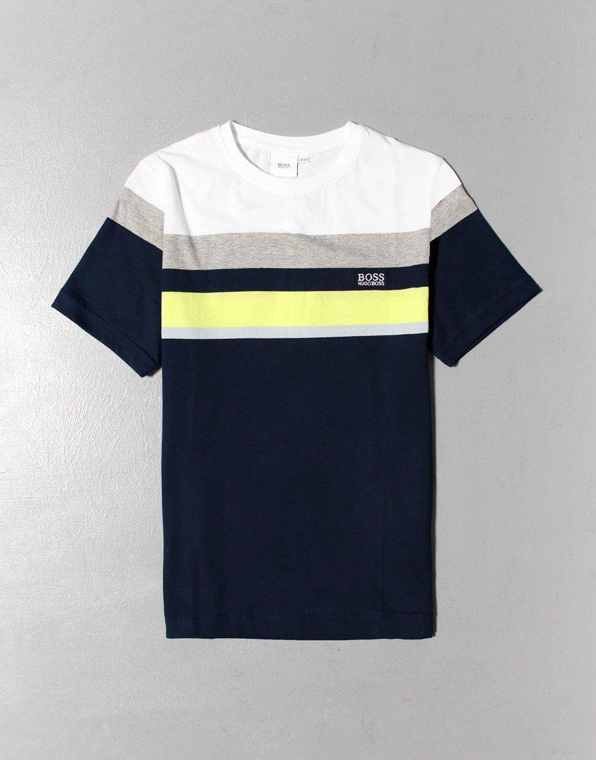 BOSS Kids Colour Block T-shirt Navy