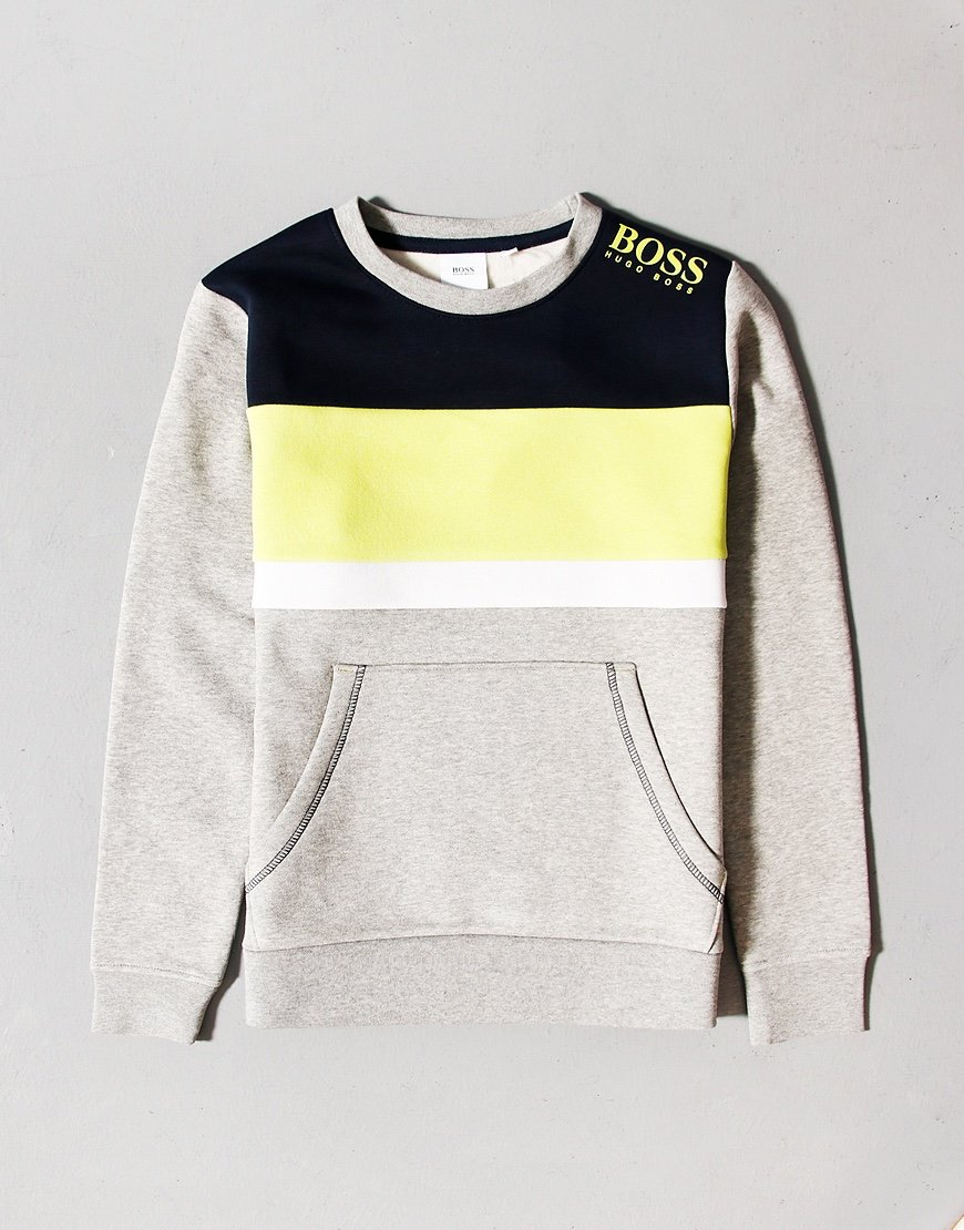 BOSS Kids Colour Block Crew Sweat Grey