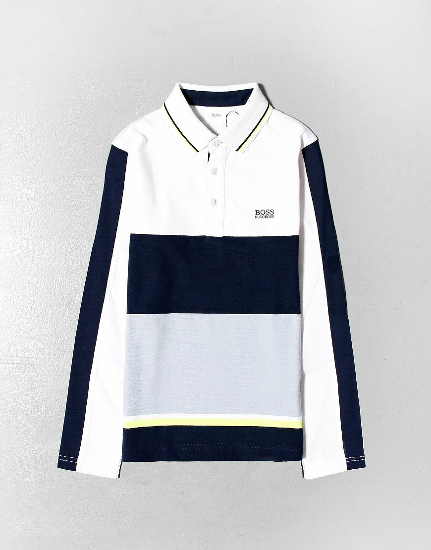 BOSS Kids Colour Block Tipped Polo Shirt White Navy