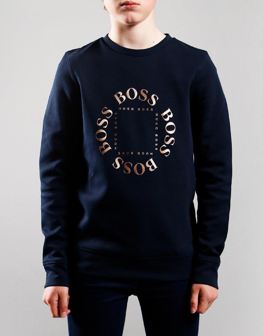 BOSS Kids Gold Logo Sweat Navy