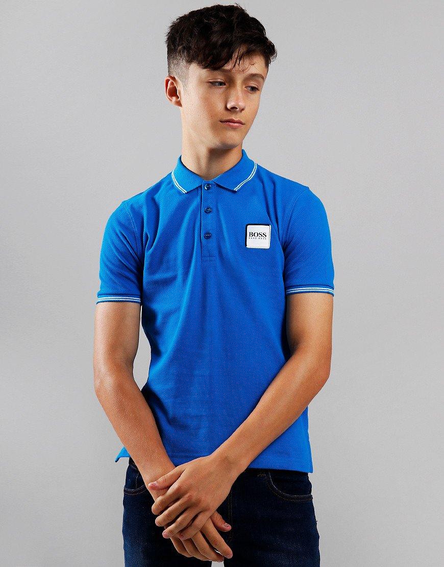 BOSS Kids Cotton Logo Polo Shirt Electric Blue