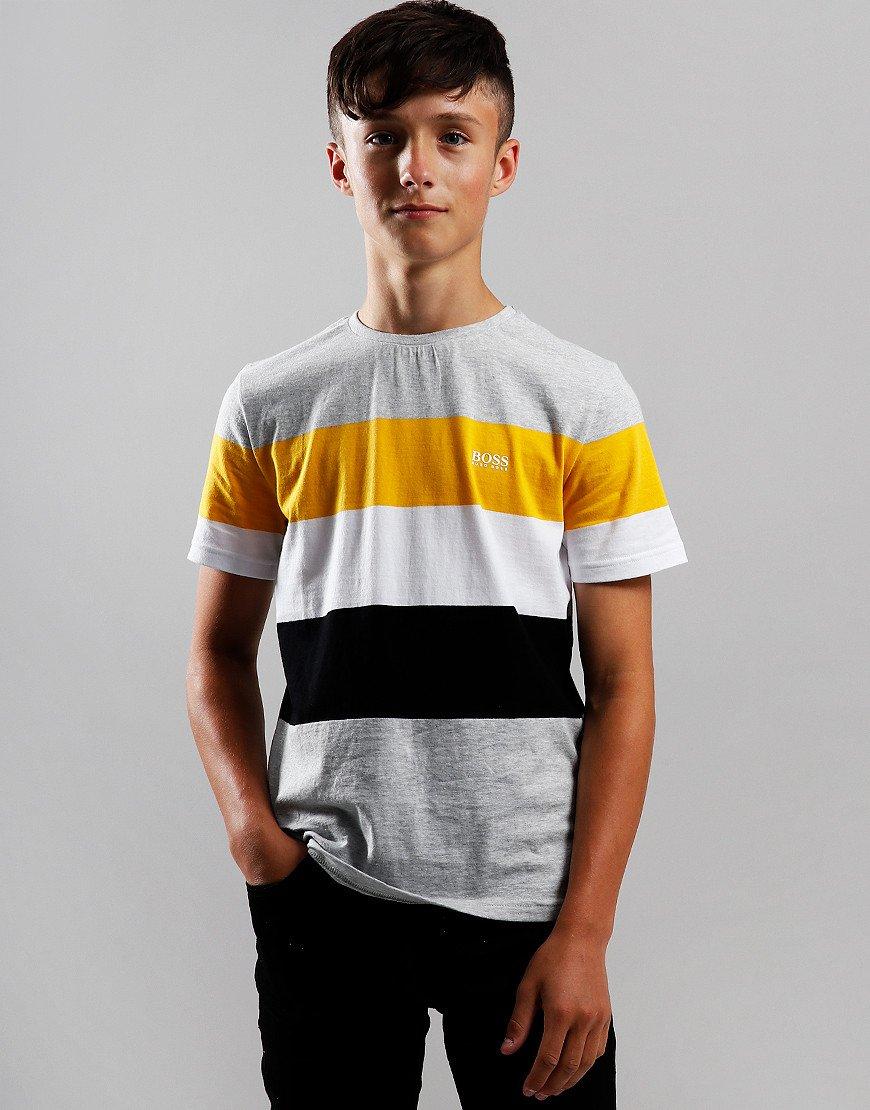 BOSS Kids Stripe Cotton Blend T-Shirt Grey/Yellow