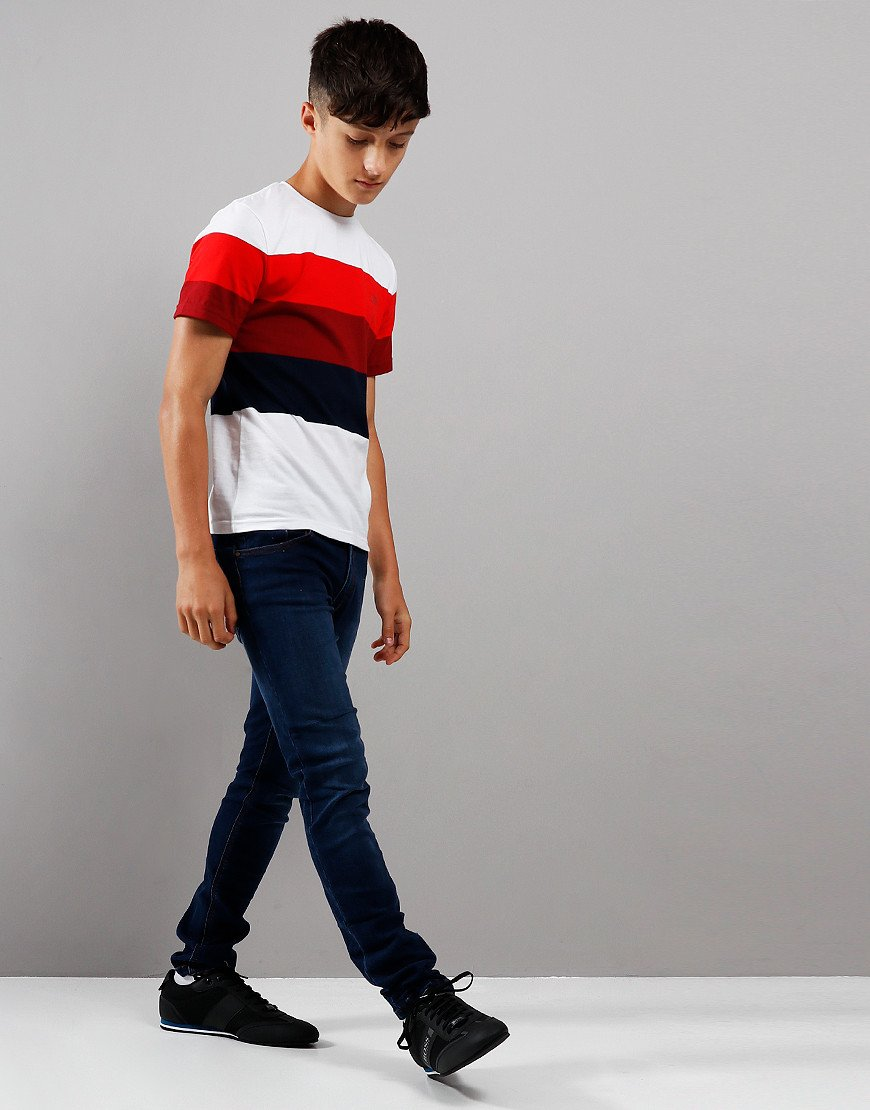 BOSS Kids Striped T-Shirt White/Red
