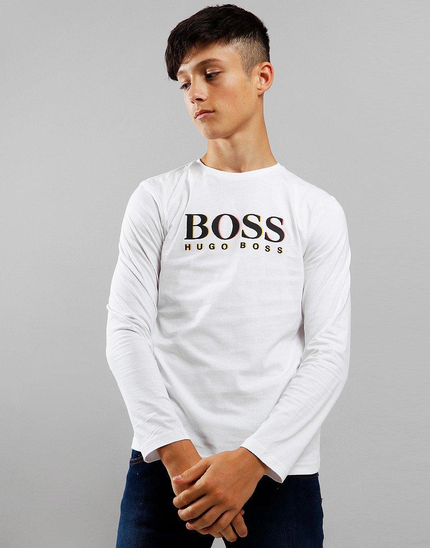 BOSS Kids Logo Long Sleeve T-Shirt White