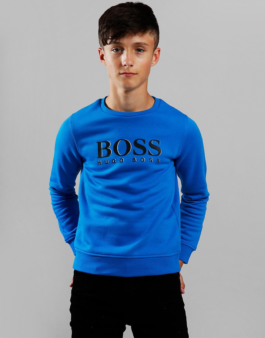 BOSS Kids Logo Crew Sweat Electric Blue