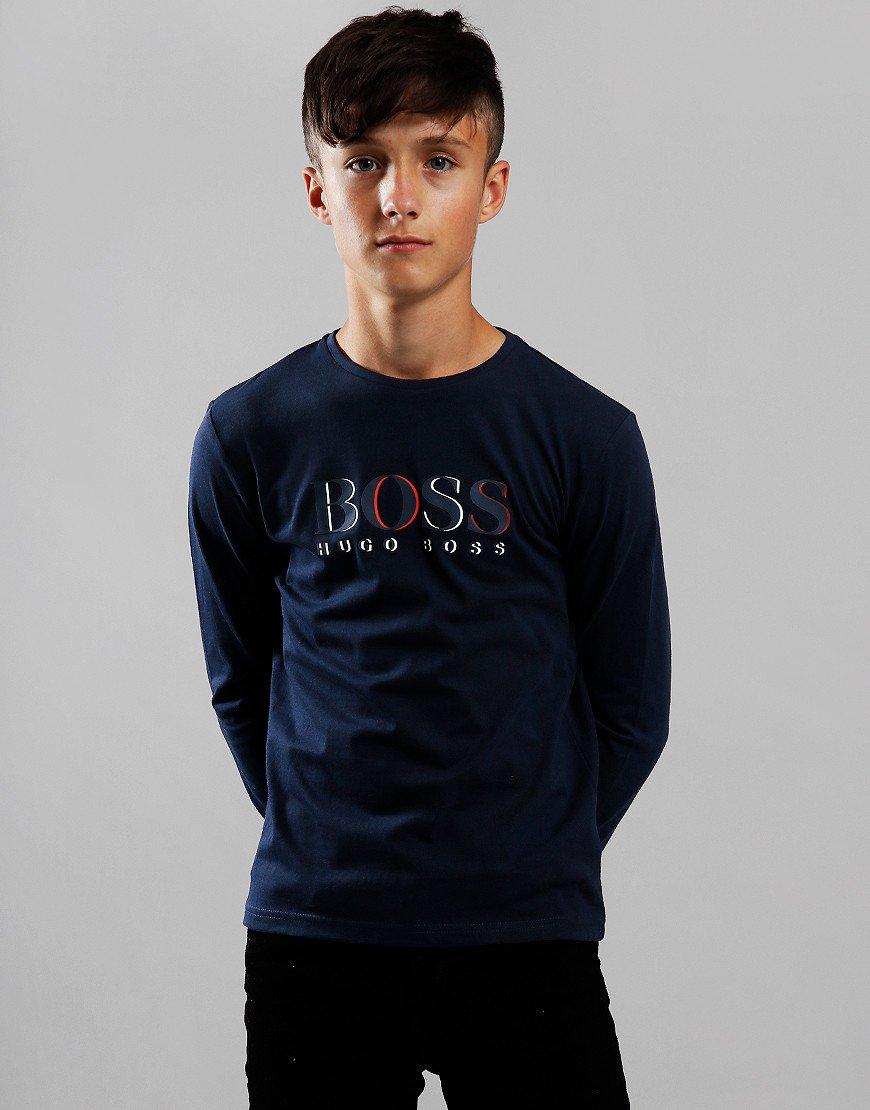 BOSS Kids Logo Long Sleeve T-Shirt Navy