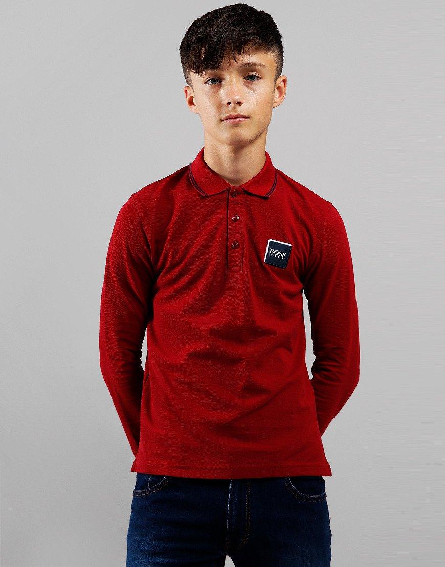 BOSS Kids Cotton Logo Long Sleeve Polo Shirt Crimson