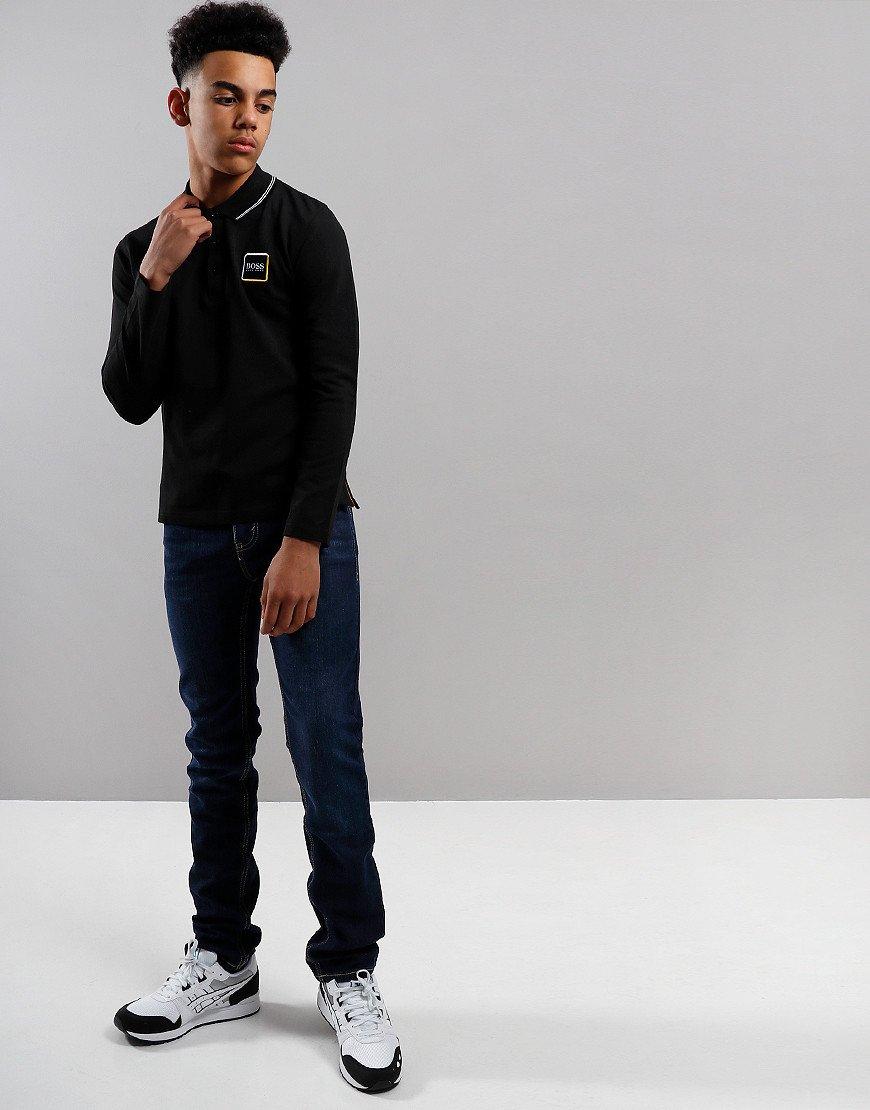 BOSS Kids Cotton Logo Long Sleeve Polo Shirt Black