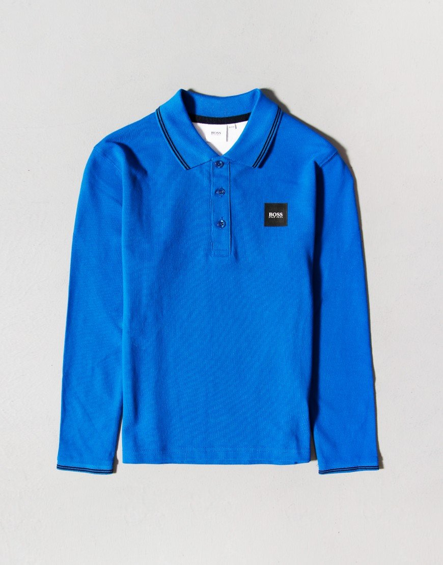 BOSS Kids Long Sleeve Polo Shirt Electric Blue