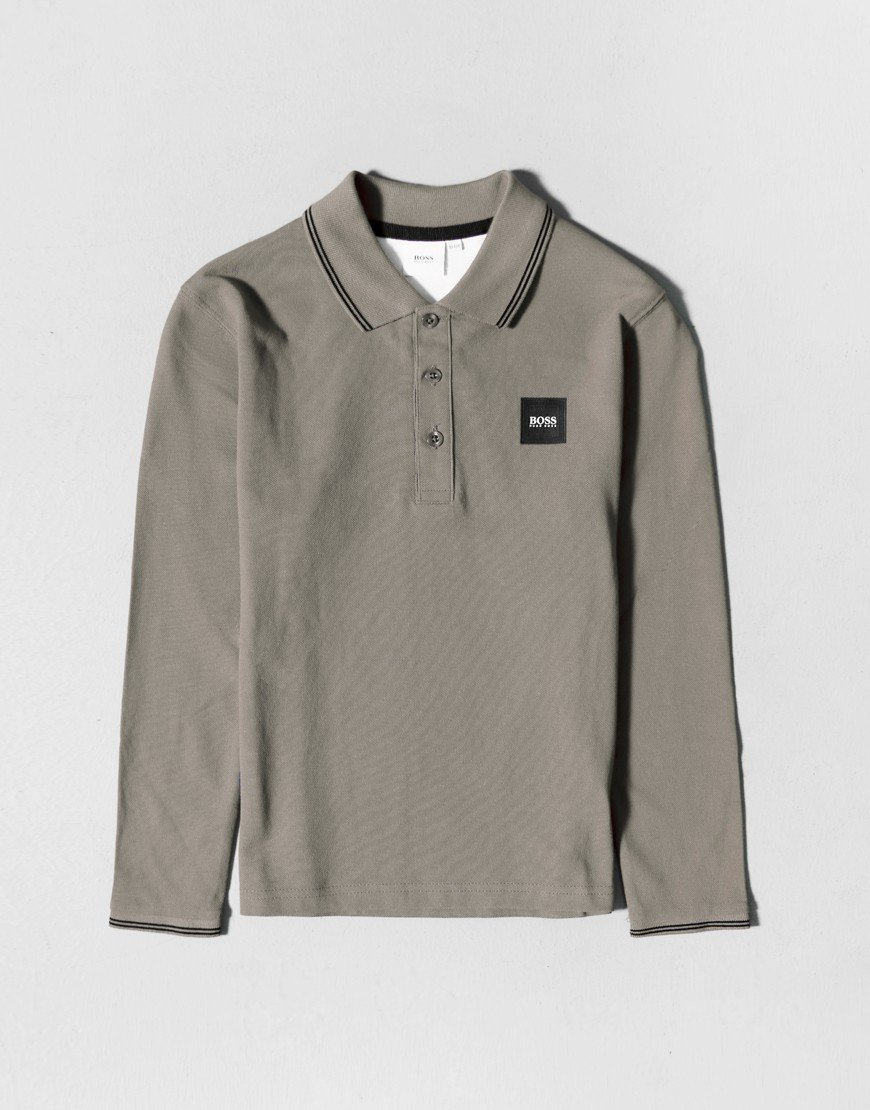 BOSS Kids Long Sleeve Polo Shirt Grey