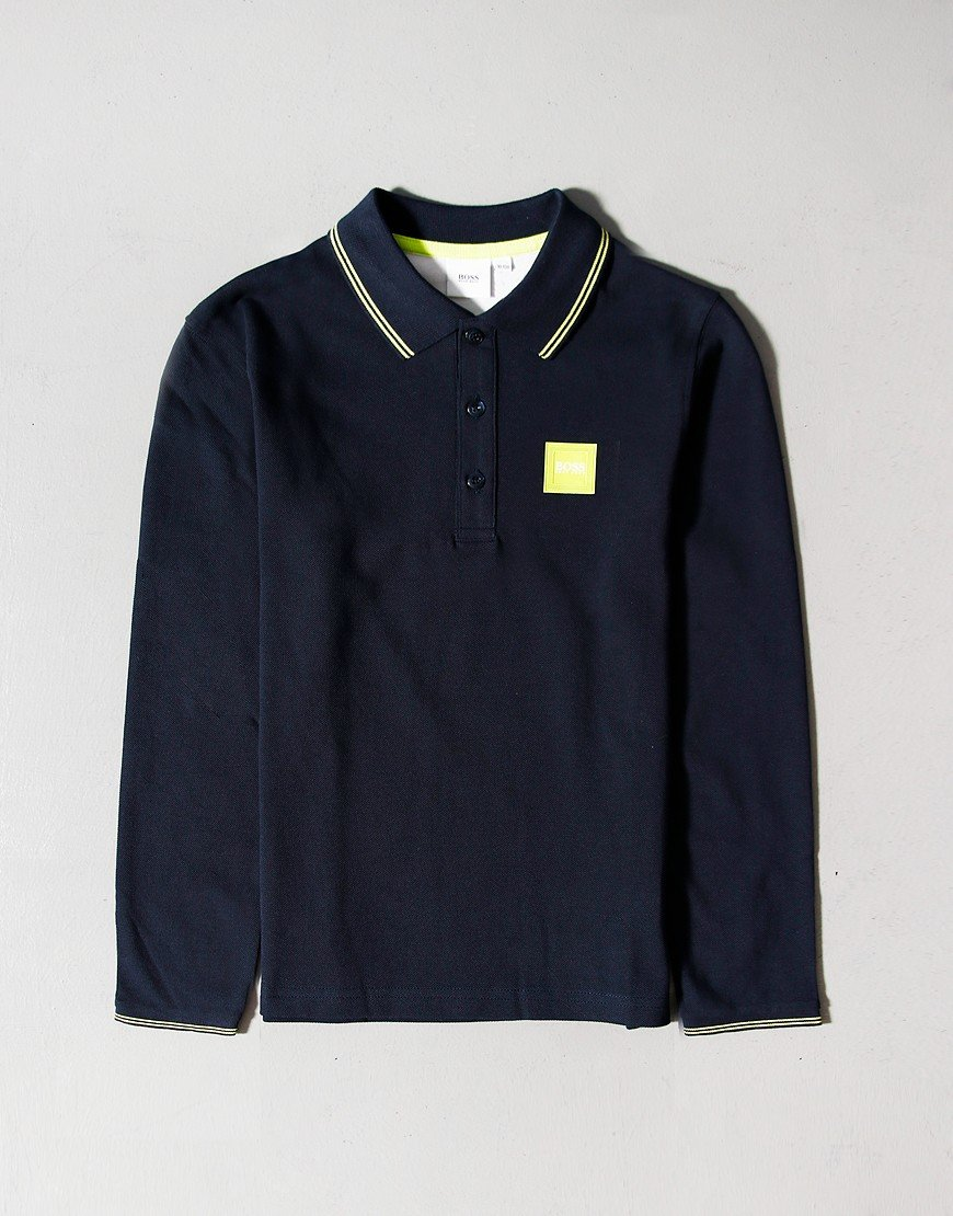 BOSS Kids Long Sleeve Polo Shirt Navy