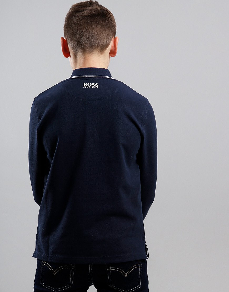 BOSS Kids Cotton Logo Long Sleeve Polo Shirt Navy