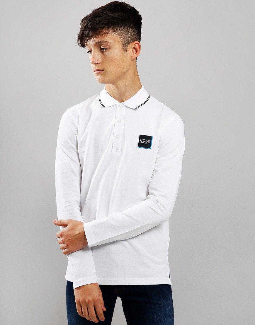 BOSS Kids Cotton Logo Long Sleeve Polo Shirt White