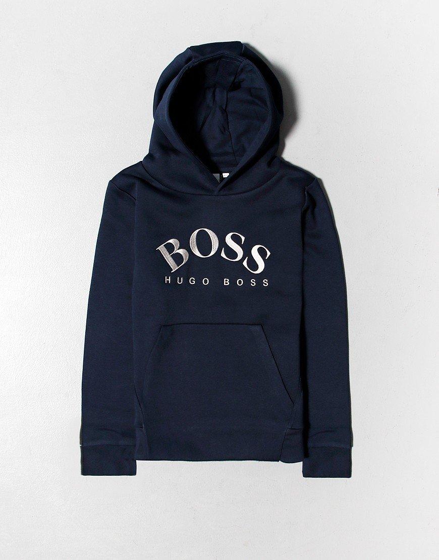 BOSS Kids Print Hoodie Navy