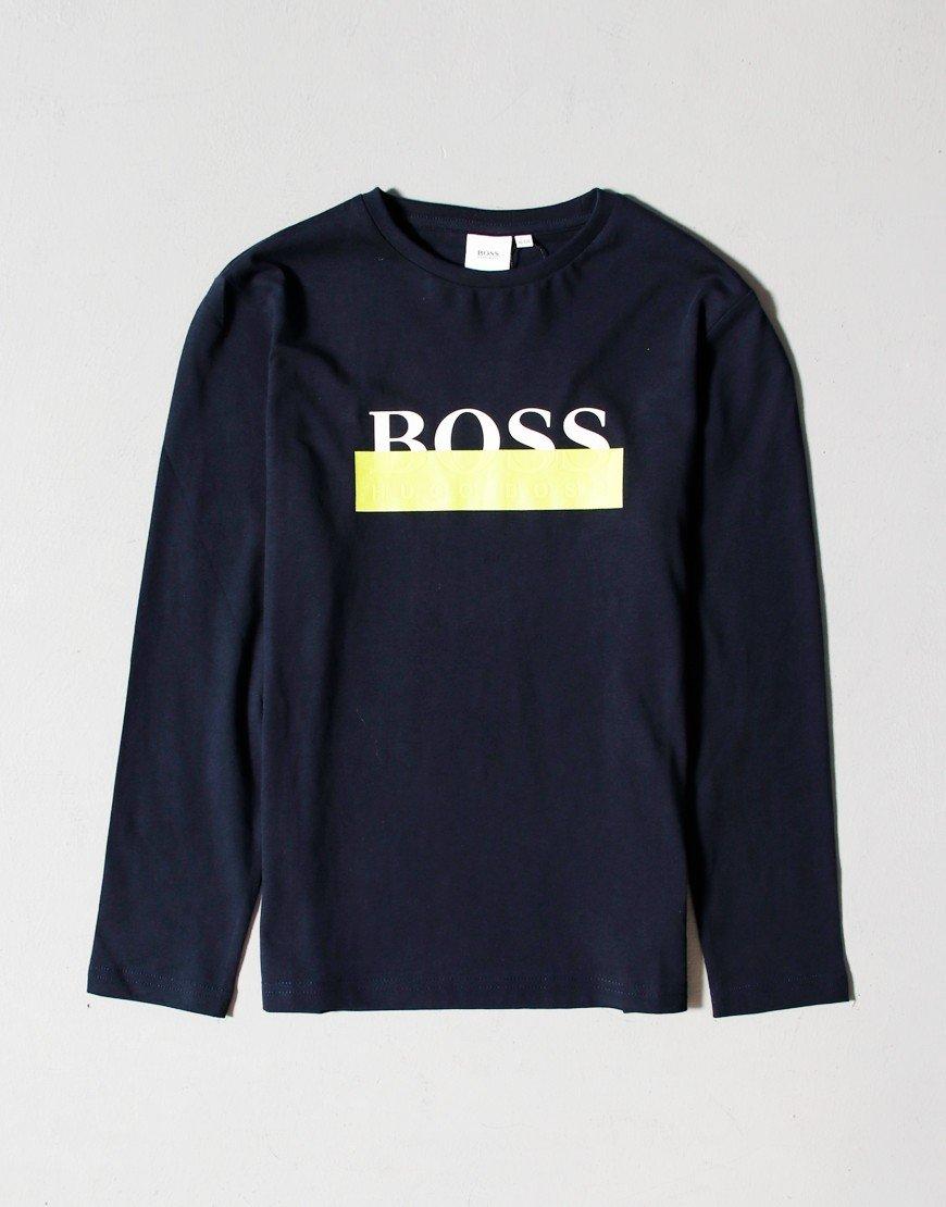 BOSS Kids Yellow Box T-Shirt Navy
