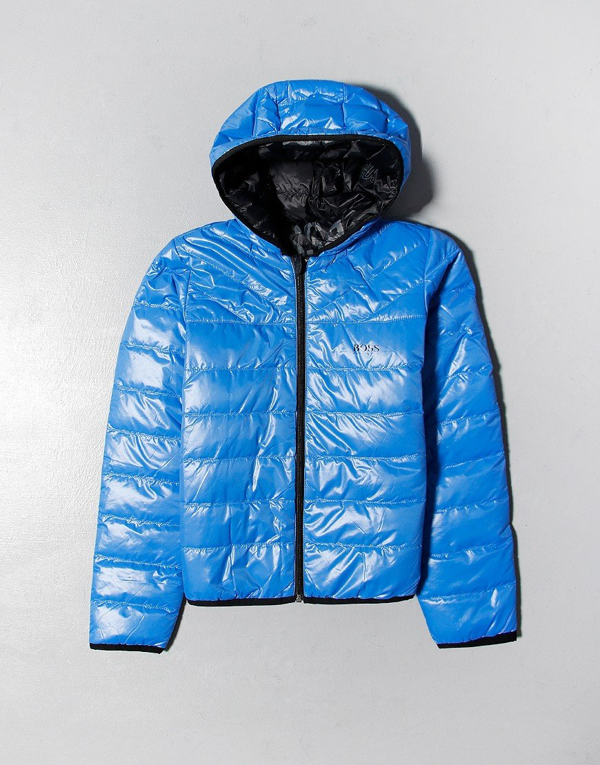 BOSS Kids Reverse Puffer Jacket Black/Blue