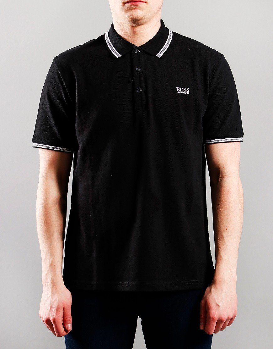 BOSS Kids Cotton Pique Polo Shirt Black