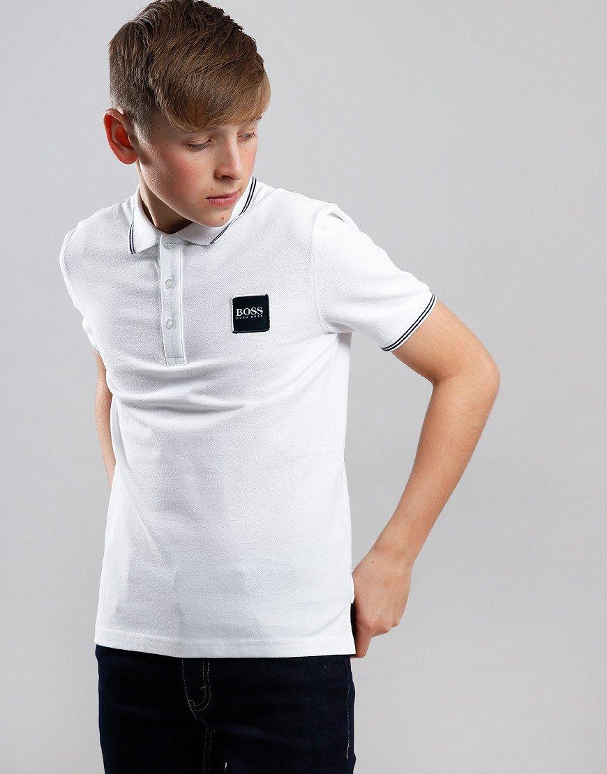 BOSS Kids Cotton Logo Polo Shirt White