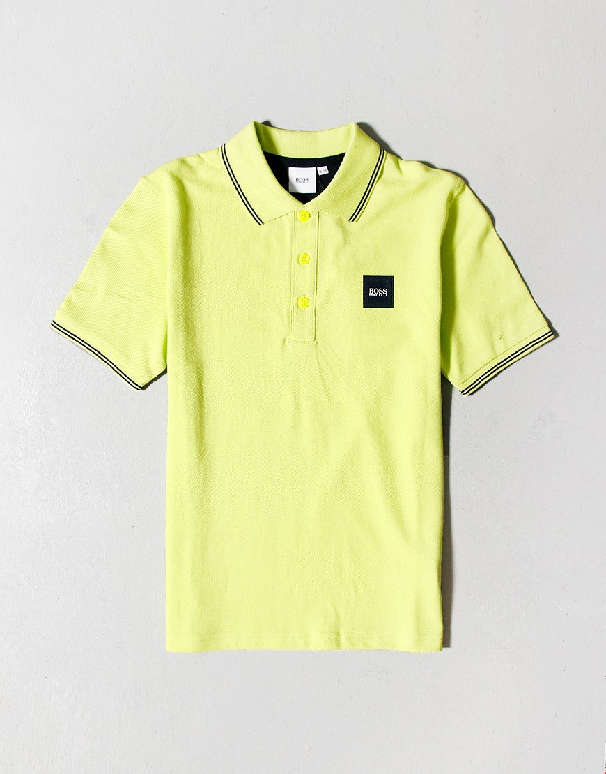 BOSS Kids Tipped Polo Shirt Green Lemon