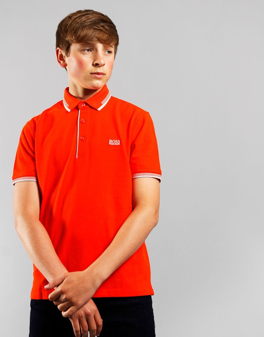 BOSS Kids Tipped Polo Bright Red