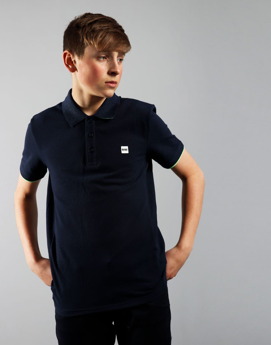 BOSS Kids Detail Polo Shirt Navy