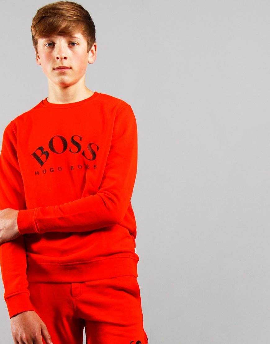 BOSS Kids Large Logo Sweat Bright Red