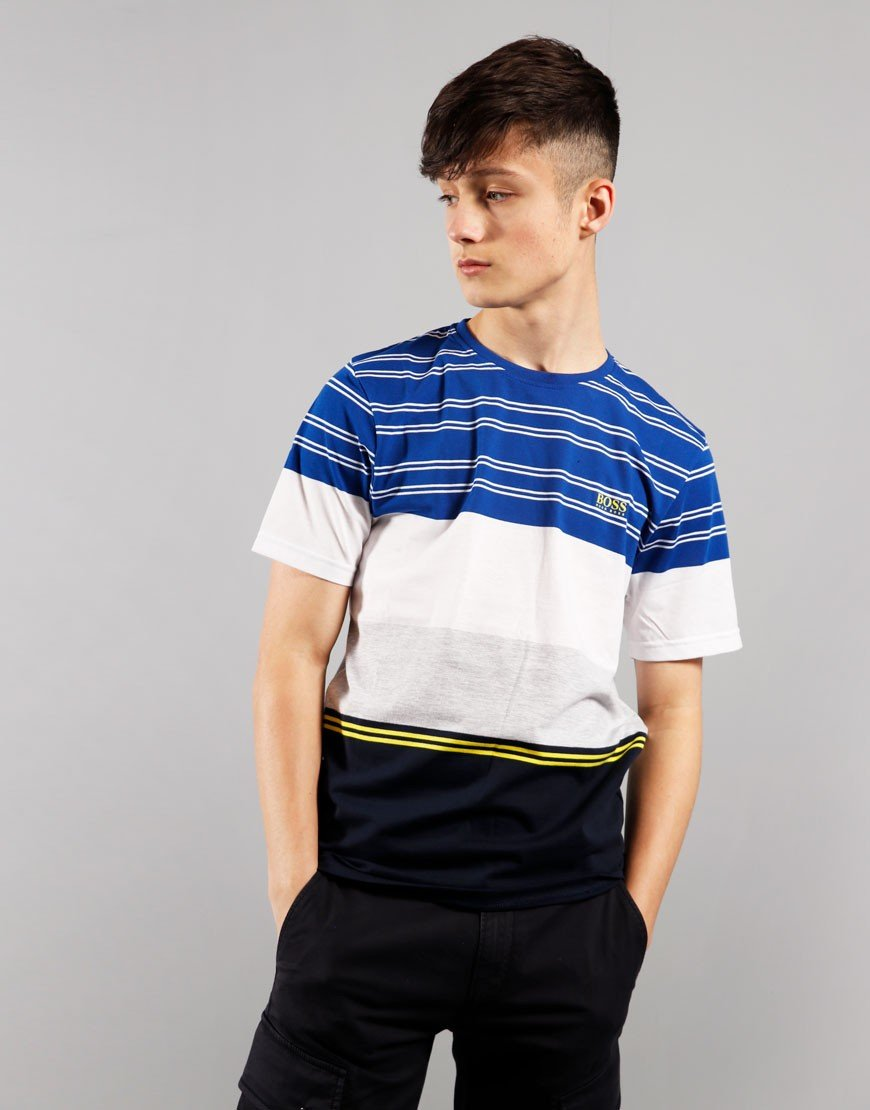 BOSS Kids Stripe T-Shirt Blue Navy