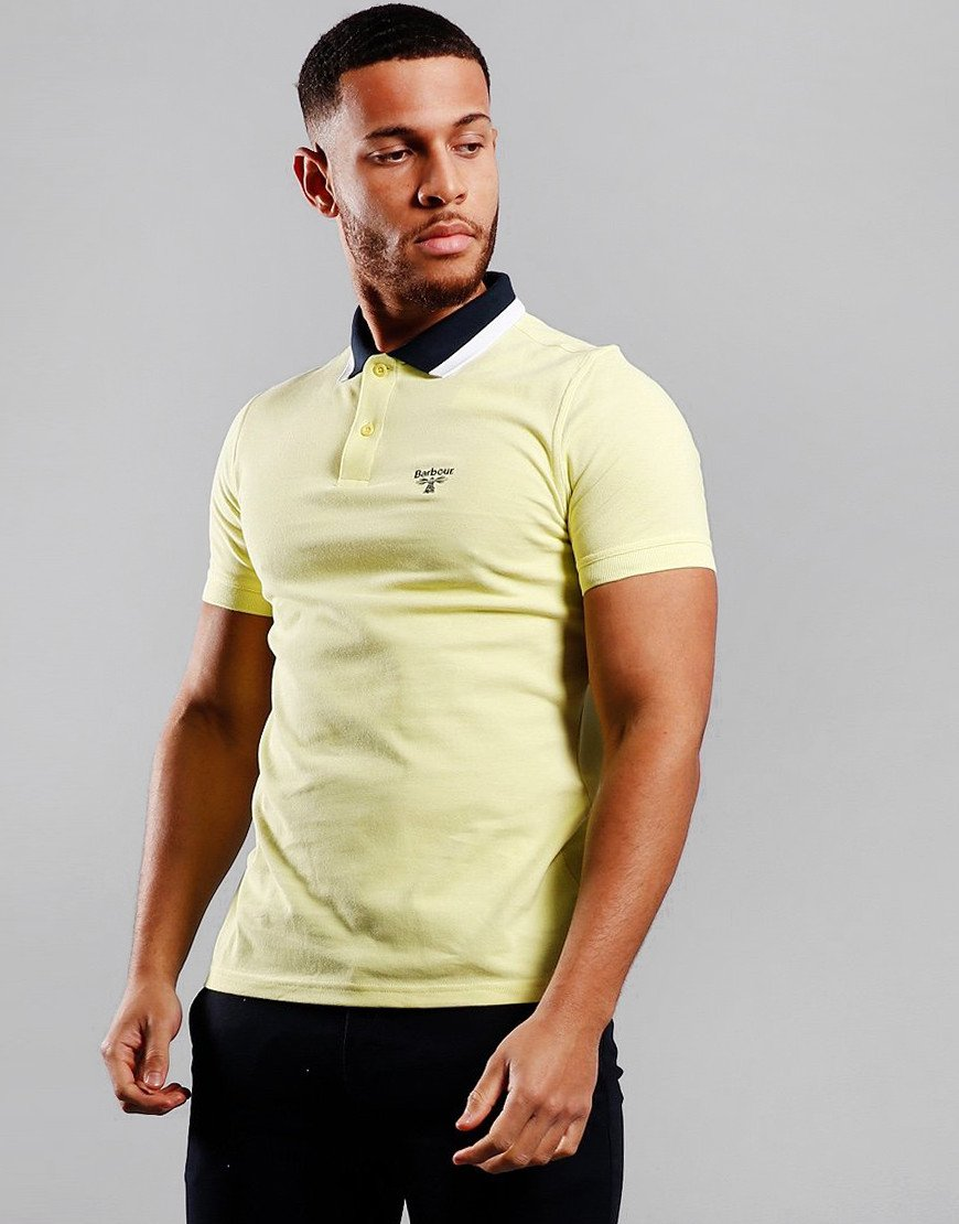 Barbour Beacon Alston Tipped Polo Shirt Pale Lemon