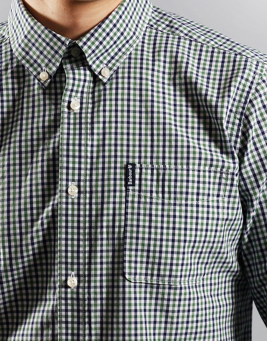 Barbour Gingham 16 Tailored Long Sleeve Shirt Green