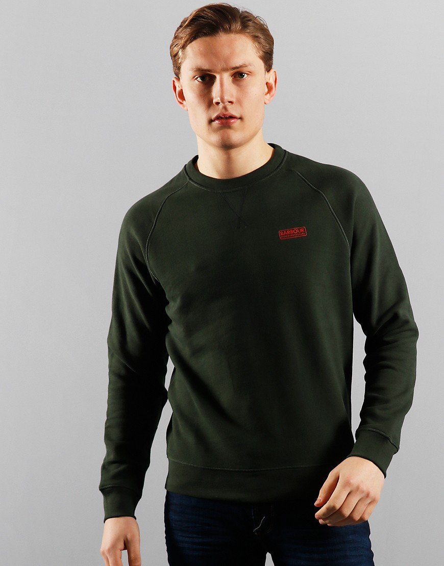 Barbour International Essential Crew Sweat Jungle Green