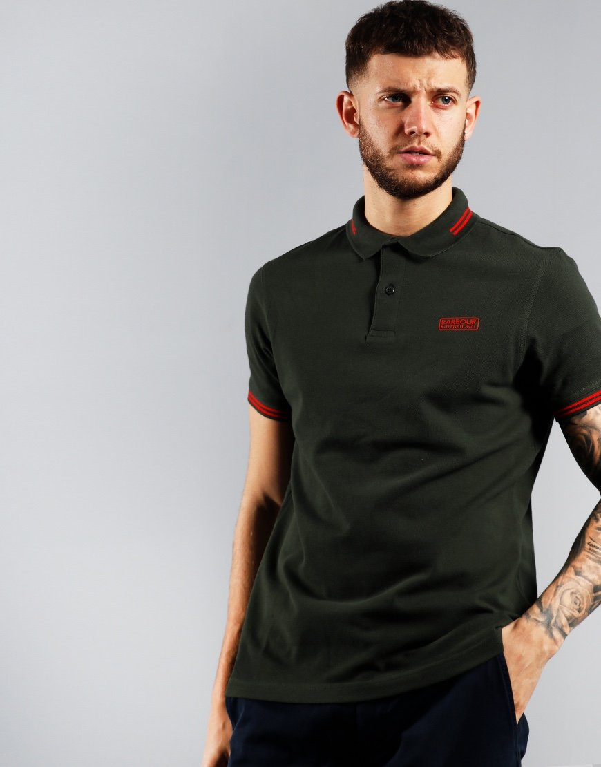 Barbour International Essential Tipped Polo Shirt Jungle Green